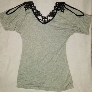 Cold Shoulder Form Fitted Lace Back Shirt